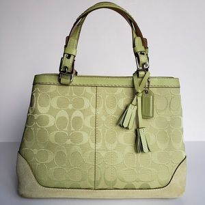 Coach Carryall Satchel Handbag Lime Green 6830